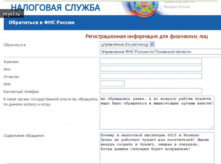 Регистрационная форма при обращении в ФНС на сайте налоговой